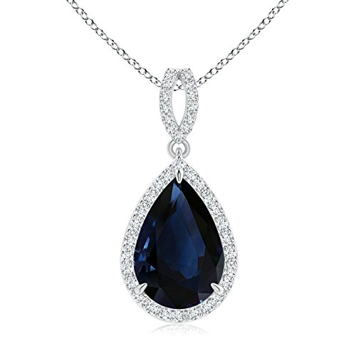 Vintage Style GIA Certified Pear Sapphire Halo Pendant in 18K White Gold (13.64x10.63x6.15mm Blue (18k Gold Pear Shaped Sapphire)