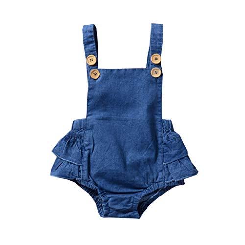 Infant Rompers-Waymine Toddler Girls Sleeveless Strap Denim Solid Strap Cake ()