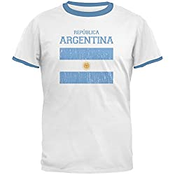 World Cup Distressed Flag Republica Argentina White/Sky Blue Men's Ringer T-Shirt