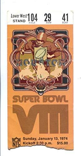 Super Bowl VIII 8 Ticket Vikings Dolphins 1/13/74 Rice Stadium 44223