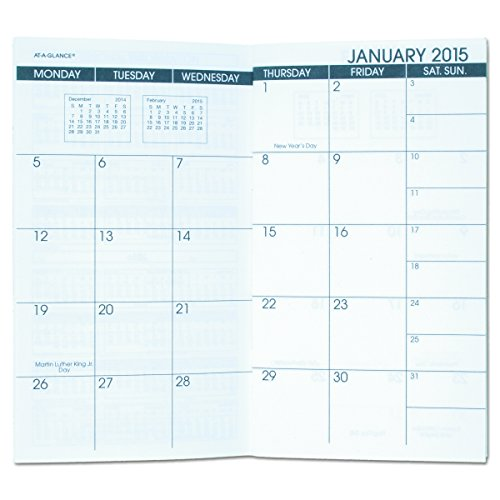 AT-A-GLANCE 7090610 Pocket Size Monthly Planner Refill, 3 1/2 x 6 1/8, White, 2016-2017