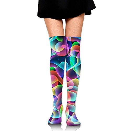 ローブシンカン分割個性 虹 ふろーまーく ストッキング サイハイソックス 3D デザイン 女性男性 秋と冬 フリーサイズ 美脚 かわいいデザイン 靴下 足元パイル ハイソックス メンズ レディース ブラック