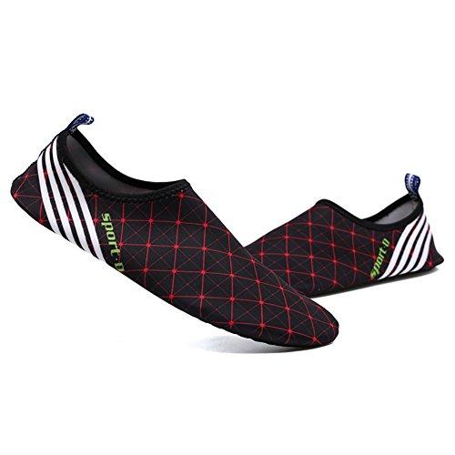 moresave Barefoot agua piel zapatos Aqua calcetines Yoga zapatos de playa viaje Balet Flats zapatos Black-4