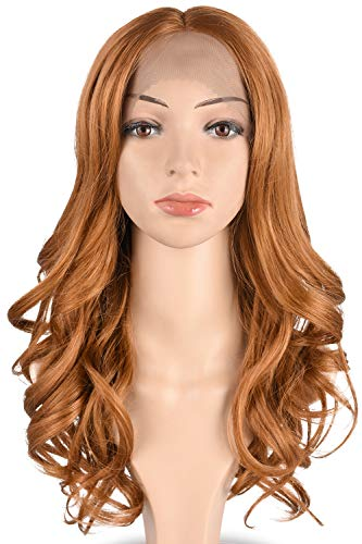 Tofafa Honey Blonde #27 Lace Front Wig 100% Heat Resistant Synthetic Hair Long Wave Wig for Women 18 ()