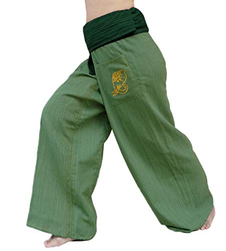 PUFA : 2 Tone Thai Fisherman Pants Yoga Trousers, a Waist up to 70