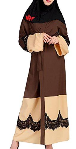 Jaycargogo Femmes Épissage Dentelle Florale Robe Musulmane Fashional Longue Robe Manches 3