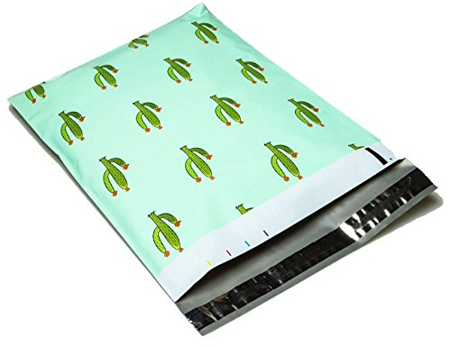Mint Envelope (10x13 - Mint Cactus Designer Printed Poly Mailers Shipping Envelopes Self Sealing Boutique Custom Bags (30 Pcs))
