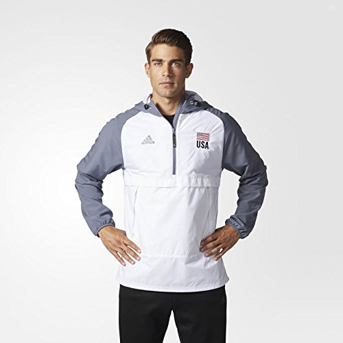 adidas Men's USA Volleyball Anorak Flag 1/4 Zip-UP Hoodie WHITENEW (X-Large)