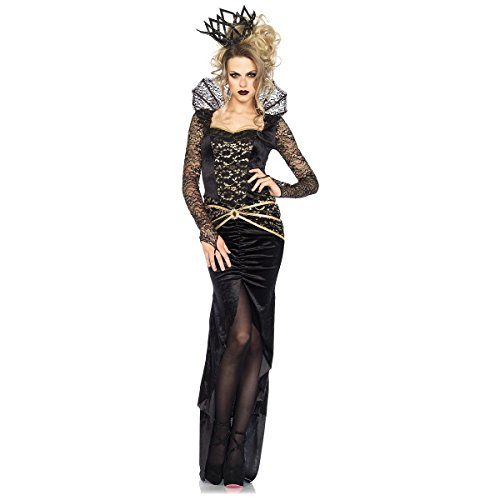 Deluxe Gothic Mistress Sexy Costumes (Deluxe Evil Queen Costume - Large - Dress Size 12-14)