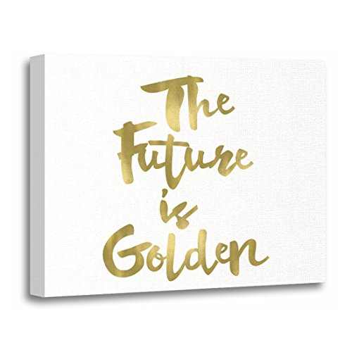 TORASS Canvas Wall Art Print Modern the Future Is Golden Mini Gold Hipster Artwork for Home Decor 20