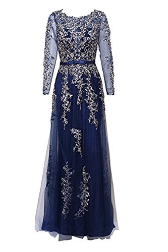 Embellished Satin A-line Dress - qibinfs Women Prom Dress Long Sleeves Dress with Applique Sequin Rhinestone