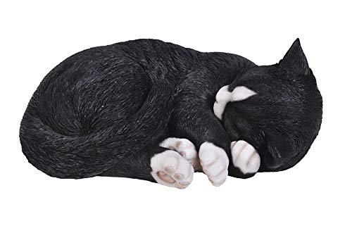Black & White Cat Figurine - Vivid Arts Size B Real Life Sleeping Cat - Black/White