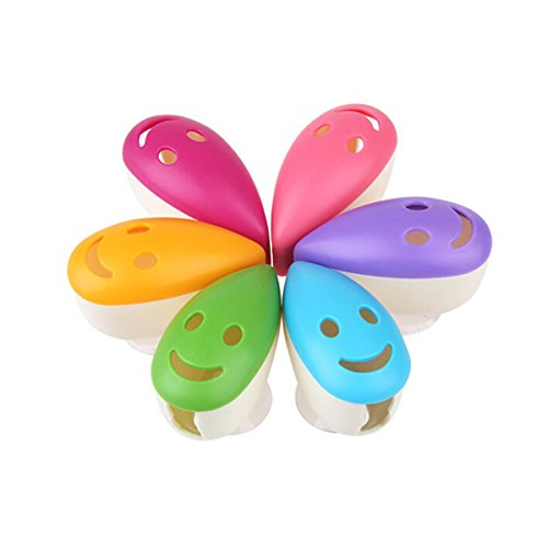 Smile Toothbrush Holder - SELIFY 6pcs Toothbrush Head Cover, Portable Toothbrush Head Case, Smile Face Toothbrush Holders Suction Cup (Random Color)