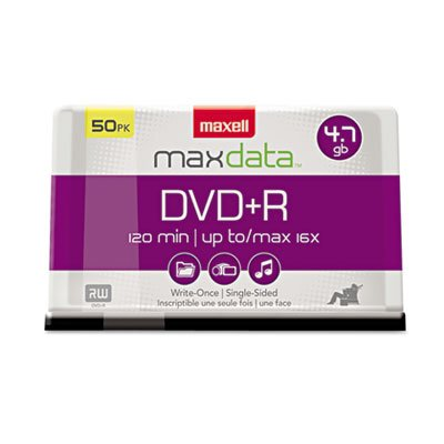 DVD+R Discs, 4.7GB, 16x, Spindle, Silver, 50/Pack, Sold as 2 Package by Maxell