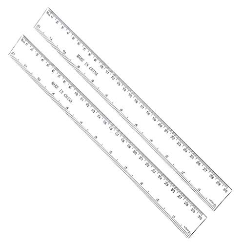 12 Inches Plastic Straight Hard Ruler Viaky See Through Flexible Ruler with Inches and Metric Measuring Tool for Student School Office, Clear(2 Pack) ... ()