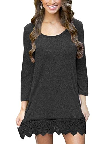 MiYang Women's Long Sleeve A-Line Lace Stitching Trim Casual Dress L Black