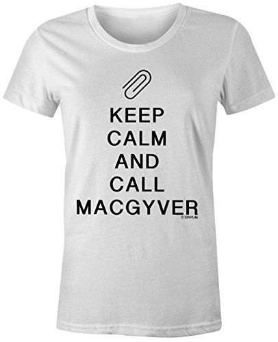 KEEP CALM and call Macgyver ★ Rundhals-T-Shirt Frauen-Damen ★ hochwertig bedruckt mit lustigem Spruch ★ Die perfekte Geschenk-Idee