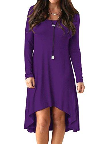 Coolred-femmes Solides Manches Longues Ourlet Asymétrique Pull-over Robe Quotidienne Violet