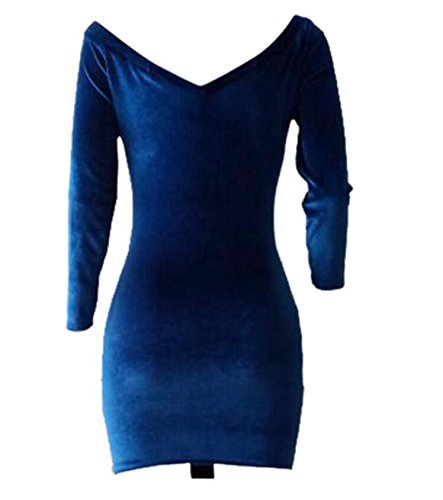 Deep Bandage Club Ruched Neck Women's Dress Mini Velvet V Blue Tie Sexy Domple Night 8SvwExq0