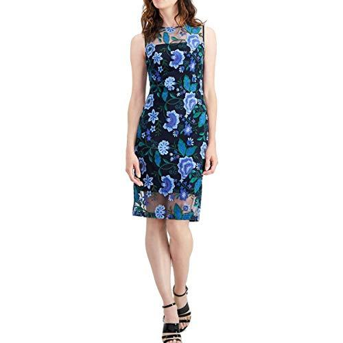 Calvin Klein Women's Sleeveless Lace Sheath with Illusion Neckline Dress, Cypress Multi/Black, 2