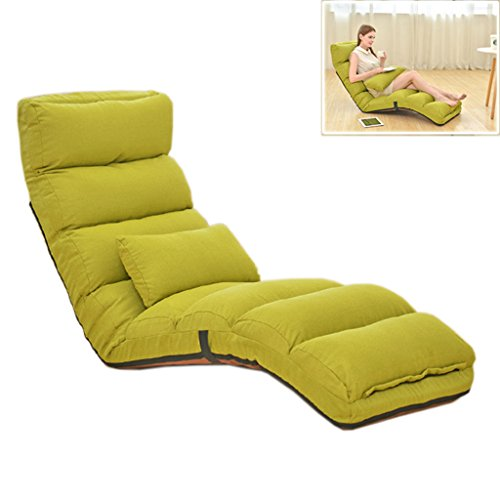 Chi Cheng Fang Electronic business Folding lazy sofa tatami siesta recliner leisure sofa bed 150kg load-bearing capacity (Color : Green, Size : 175cm(68.9inch))