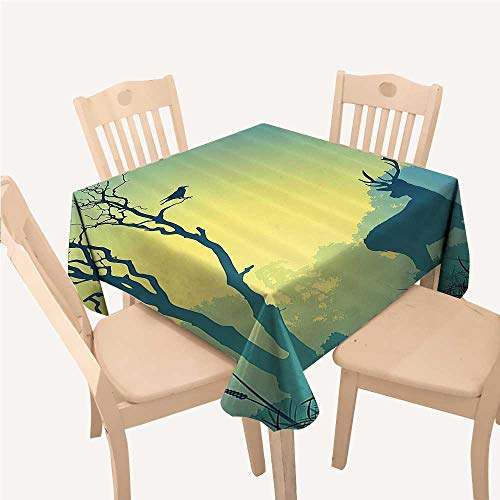 Antlers Decor Collection Jacquard Tablecloth Wild Animal Deerfield Meadow Grassland Tree Morning Time Park Landscape Image PattenOlive White Square Tablecloth W60 xL60 inch -