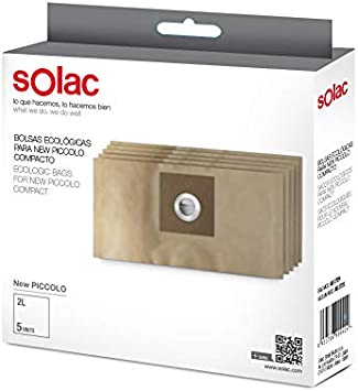 Solac AD2729 - Paquete de 5 bolsas ecológicas para aspirador AB2723 New Piccolo compacto, 2 L: Amazon.es: Salud y cuidado personal