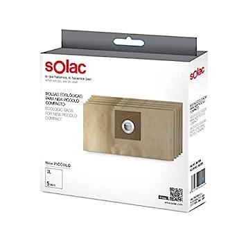 Solac AD2729 - Paquete de 5 bolsas ecológicas para aspirador AB2723 New Piccolo compacto, 2 L