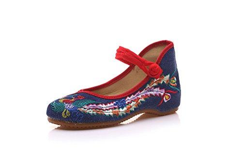 zl de Moda Estilo lenguado Bordados xiezi Femenina denim Tela Zapatos Zapatos blue de Zapatos ¨¦tnico c¨®modo Tend¨®n Baile de SqxwIqdcf
