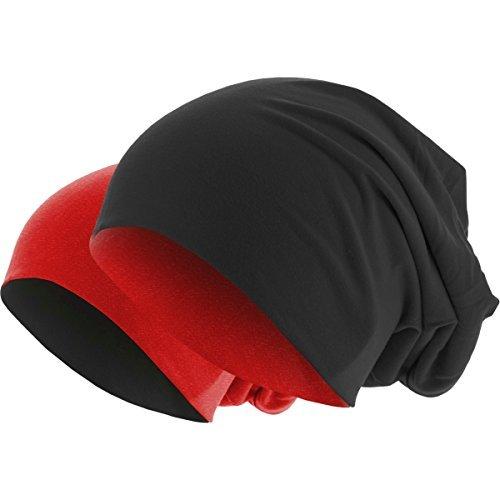 y rojo Gorro Colores Slouch Gorro invierno 1 Gorro en punto 2 de negro 48 en de Reversible Largo 1F1qxZa