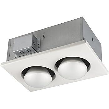Broan-Nutone163Bulb Heater, Energy-Saving 2-Bulb Infrared Type IC Ceiling Heater, White, 250-Watt