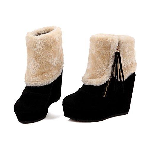 Amoonyfashion Damesschoenen Met Gesloten Teenmix Solide Laarzen Met Versiering Zwart