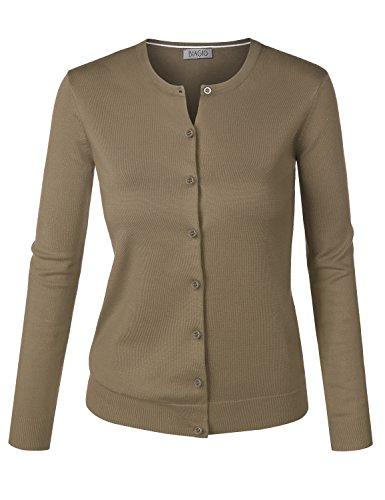 BIADANI Women Button Down Long Sleeve Crewneck Soft Knit Cardigan Sweater Camel Medium