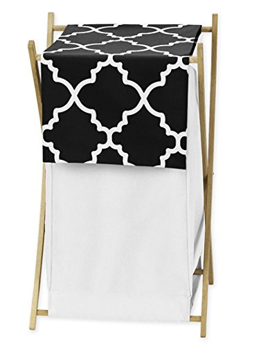 Clothes Laundry Hamper for Black and White Trellis Print Lat