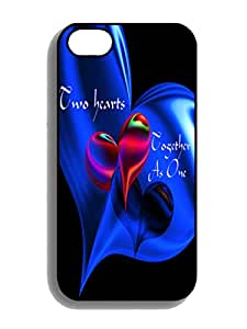 Custom Design Two Hearts Together As One Rubber TPU Gel Iphone 4 4s Cover Cases