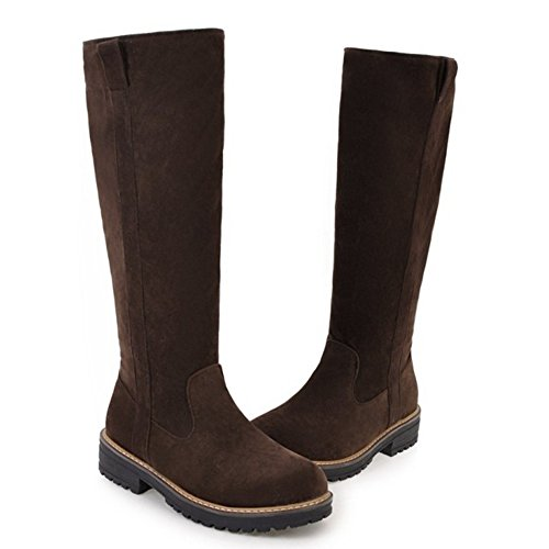5 Zipper Boots Long Brown KemeKiss Women qwYXvXP