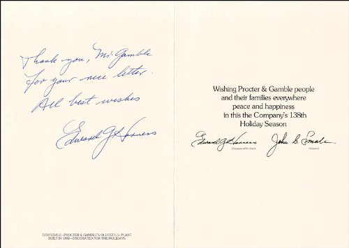 Edward G. Harness - Inscribed Christmas/Holiday Card Signed