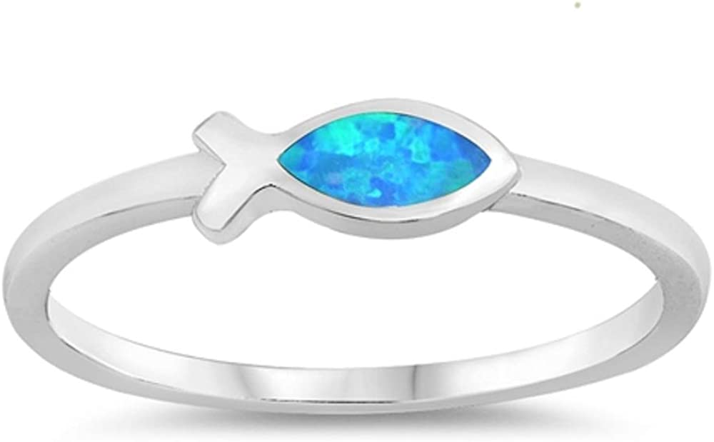 CloseoutWarehouse Blue Simulated Opal Christian Fish Ring Sterling Silver