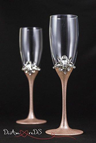 Rose Gold Wedding Glasses Personalized Champagne Flutes, Rose Gold Flute Set, Bling Toasting Glasses Wedding Gift, Engraved Glasses Set Of 2 ()