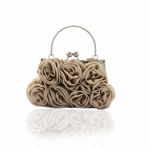 Kingluck Silk Shell with Flower Evening Handbags/ Clutches/ Top Handle Bags More Colors Available (kaqi)