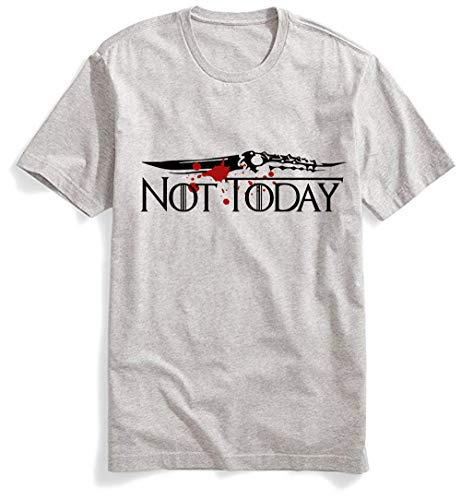 Not Today Shirt GOT Arya Stark Shirt The Game TV Series Thrones Merchandise Funny T Shirts Graphic Tees Tshirts (Not Today Gray, XXL)