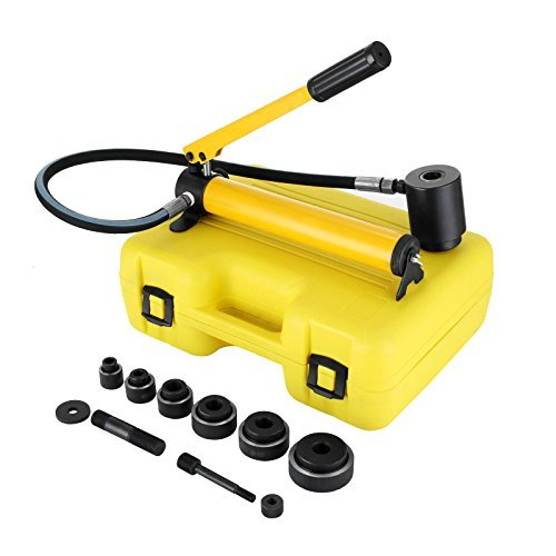 OrangeA 10 Ton 1/2'' to 2'' Hydraulic Knockout Punch Driver Tool Kit Electrical Conduit Hole Cutter Set KO Tool Kit with 6 Dies Hole Complete Tool (Knockout Punches)