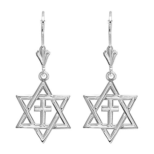 Sziro Small Messianic Star of David with Cross Charm Earr...