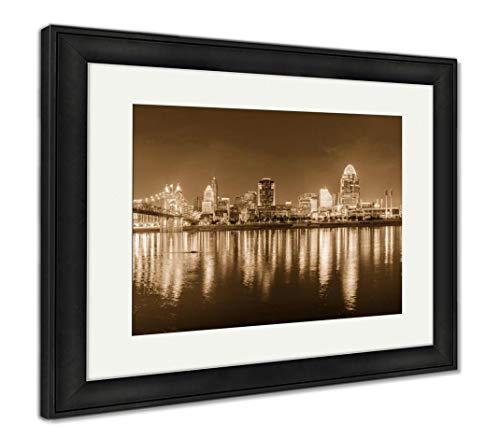 (Ashley Framed Prints Cincinnati, Ohio, USA Skyline, Wall Art Home Decoration, Sepia, 26x30 (Frame Size), Black Frame,)
