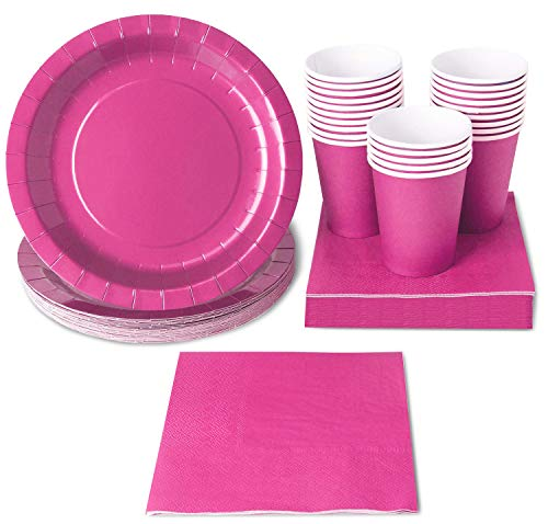 Pink Party Supplies - 24-Set Paper Tableware - Disposable Dinnerware set for 24 Guests, Including Paper Plates, Napkins and Cups, Neon Pink ()