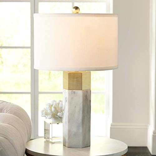 Marble Column Lamp - Leala Modern Accent Table Lamp Marble Brass Hexagonal Column White Drum Shade for Living Room Family Bedroom Bedside - Possini Euro Design