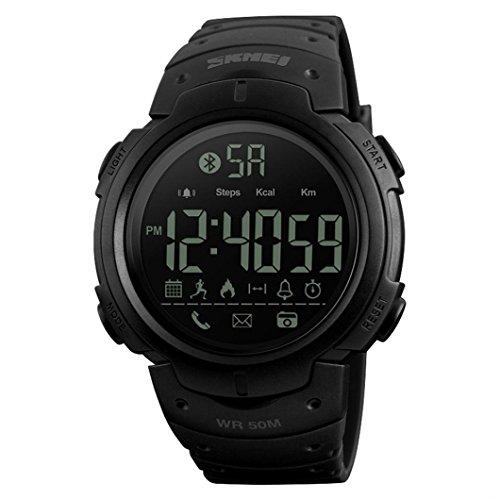 ockproof Bluetooth Sport Step Pedometer Smart Watch Phone Mate Android iOS Wristwatch (Black) ()