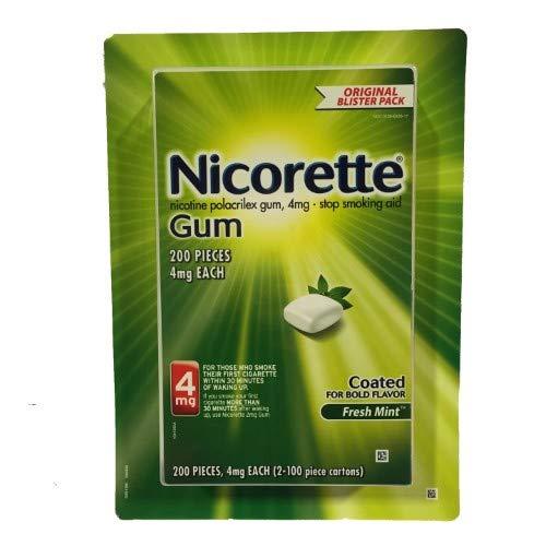 Nicorette Nicotine Gum Stop Smoking Aid, Fresh Mint, 4 milligram, 200 Count