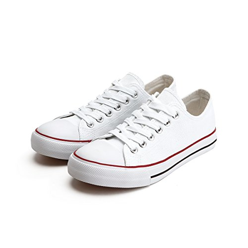 Women's Canvas All White Lace Sneakers (White) - 1