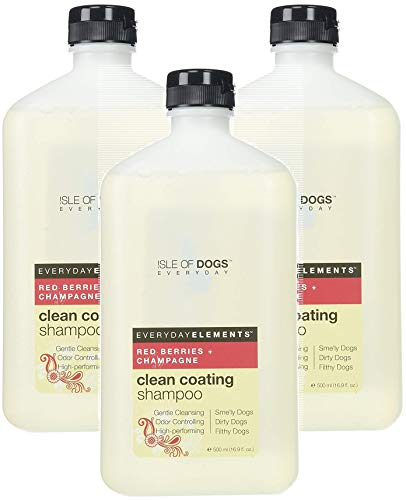 Isle of Dogs 3 Pack of Everyday Red Berries & Champagne Clean Coating Shampoo for Dogs, 16.9 Ounces Per Bottle ()